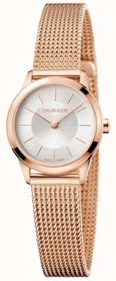 Calvin Klein Senhoras rosa pulseira de malha de ouro mostrador branco K3M23626