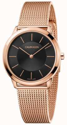 Calvin Klein Senhoras minimalista subiu pulseira de malha de ouro mostrador preto K3M2262Y