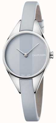 Calvin Klein Senhoras rebelde pulseira de couro cinza mostrador cinza K8P231Q4