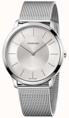Calvin Klein Mens pulseira de malha cinza mínima de prata discagem K3M2T126