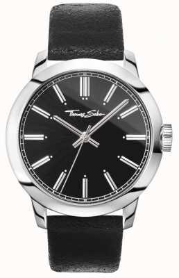 Thomas Sabo Mens rebelde no coração assistir pulseira de couro preto mostrador preto WA0312-203-203-46