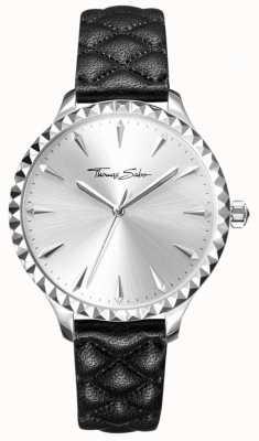 Thomas Sabo Mulheres rebelde no coração assistir pulseira de couro preto mostrador prateado WA0320-203-201-38