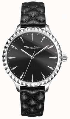 Thomas Sabo Mulheres rebelde no coração assistir pulseira de couro preto mostrador preto WA0321-203-203-38