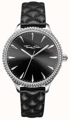 Thomas Sabo Mulheres rebelde no coração assistir pulseira de couro preto mostrador preto WA0322-221-203-38