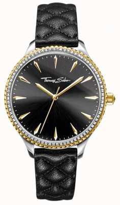 Thomas Sabo Mulheres rebelde no coração assistir pulseira de couro preto mostrador preto WA0323-221-203-38