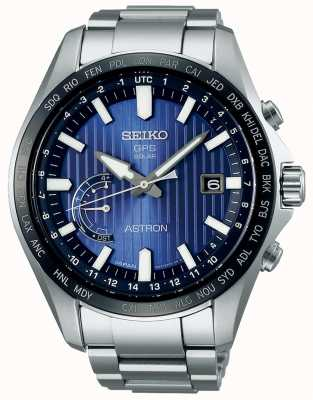 Seiko Astron solar gps azul mostrador pulseira de aço inoxidável SSE159J1