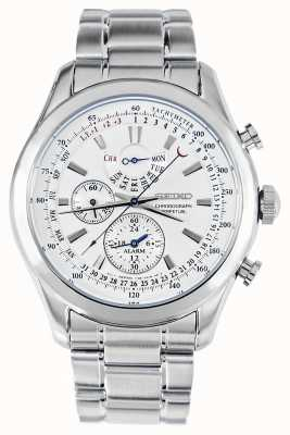 Seiko Relógio de cronógrafo de alarme pulseira de prata mostrador branco SPC123P1