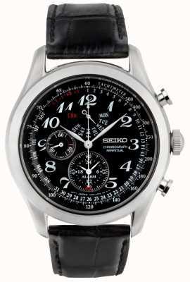 Seiko Relógio cronógrafo para homem, mostrador preto, pulseira de couro preto SPC133P1