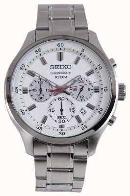 Seiko mens sports chrono relógio pulseira de prata mostrador branco SKS583P1