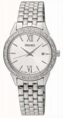 Seiko senhoras pulseira de metal prata mostrador branco SUR695P1