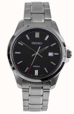 Seiko Mens vestido relógio pulseira de prata mostrador preto SUR245P1