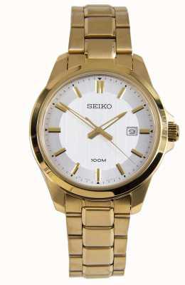 Seiko Mens vestido relógio pulseira de ouro mostrador branco SUR248P1