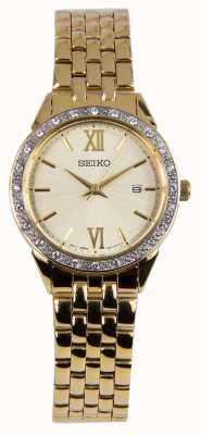 Seiko Senhoras assistem pulseira de ouro mostrador de ouro SUR688P1