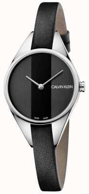 Calvin Klein Senhoras pulseira de couro fino rebelde preto K8P231C1