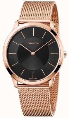 Calvin Klein Mens mínimo subiu de malha de ouro pulseira mostrador preto relógio K3M2T621