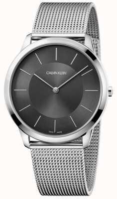 Calvin Klein Mens prata mínima de malha inoxidável relógio pulseira de discagem preta K3M2T124