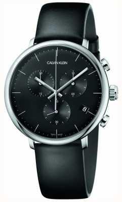 Calvin Klein Relógio de cronógrafo de couro preto de alta hora de mens dos homens K8M271C1