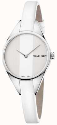 Calvin Klein Senhoras pulseira de couro fino rebelde relógio branco K8P231L6