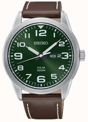Seiko Mens watch pulseira marrom mostrador verde SNE473P1