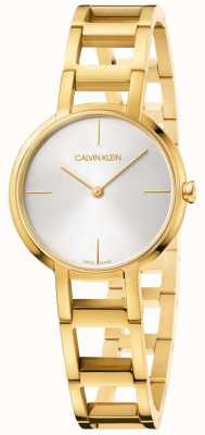 Calvin Klein Senhoras felicidades relógio de ouro amarelo K8N23546