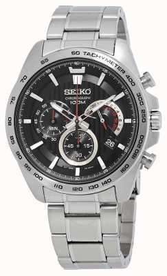 Seiko Relógio de cronógrafo de homem pulseira de prata mostrador preto SSB299P1
