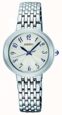 Seiko Senhoras de prata quartzo pulseira rosto branco SRZ505P1