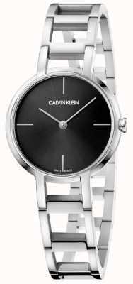 Calvin Klein Senhoras felicidades prata aço inoxidável relógio com mostrador preto K8N23141