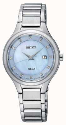 Seiko Mulheres coutura pulseira de prata solar luz azul dial SUT351P9