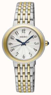 Seiko Relógio de pulseira de prata e ouro de dois tons para senhoras ex display SRZ506P1EX-DISPLAY