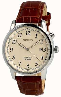 Seiko Mens cinética análogo marrom pulseira creme de discagem SKA779P1