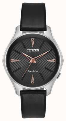 Citizen Senhoras couro preto modena eco-drive watch EM0591-01E