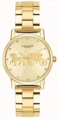 Coach Grande caso de ouro das mulheres e pulseira de relógio 14502976