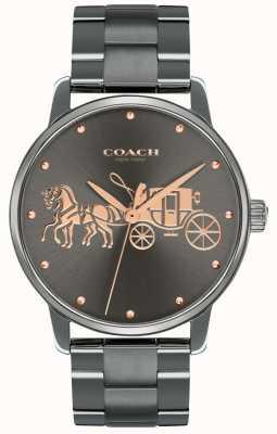 Coach Caso grande das mulheres ip preto chapeado e pulseira de ouro rosa impressão 14502924