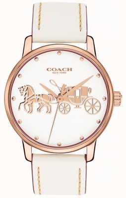 Coach Pulseira de couro branco grande das mulheres subiu caixa de ouro mostrador branco 14502973