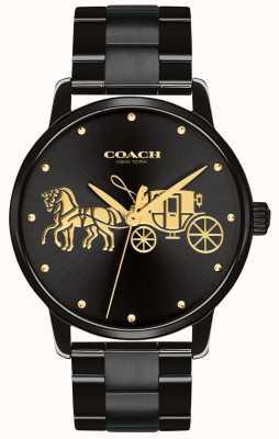 Coach Grande caso preto das mulheres e pulseira 14502925