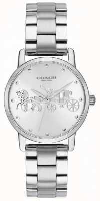 Coach Grande caixa preta das mulheres & bracelete de aço inoxidável de prata 14502975