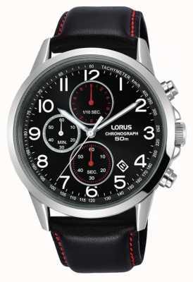 Lorus Relógio cronógrafo de homem preto pulseira de couro mostrador preto RM369EX8