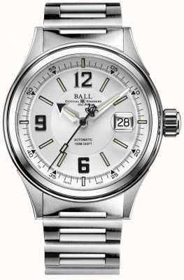 Ball Watch Company Fireman racer automático pulseira de aço inoxidável mostrador branco NM2088C-S2J-WHBK
