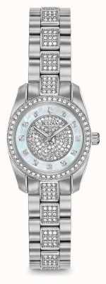 Bulova Womens crystal set de aço inoxidável 96L253