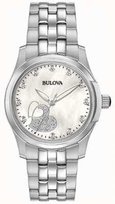 Bulova Womens classic coração de aço inoxidável 96P182
