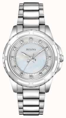 Bulova Womens designer diamante mãe de pérola 96S144