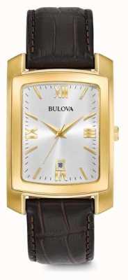 Bulova Mens cinta de couro marrom vestido 97B162