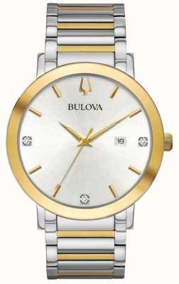 Bulova Mens dois tons pulseira de discagem de prata 98D151