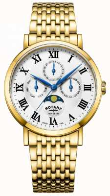 Rotary Mens windsor moonphase assistir pulseira banhado a ouro GB05328/01