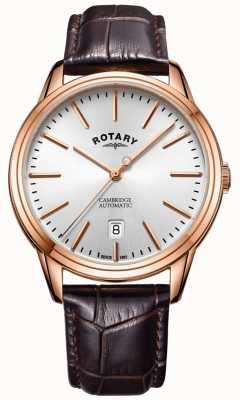 Rotary Mens cambridge assistir subiu tom de ouro pulseira de couro GS05252/02