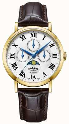 Rotary Mens windsor moonphase pulseira de couro de relógio GS05328/01