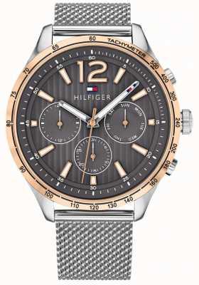 Tommy Hilfiger Mens gavin cronógrafo relógio prata pulseira de malha de aço 1791466
