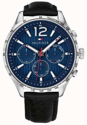 Tommy Hilfiger Mens gavin cronógrafo relógio pulseira de couro preto 1791468