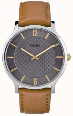Timex Mens slim skyline 40 milímetros pulseira de couro marrom mostrador cinza TW2R49700