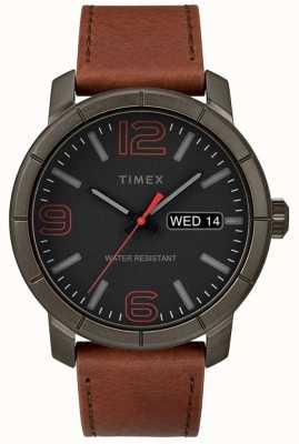Timex Mens mod 44 tan pulseira de couro preto discagem TW2R64000